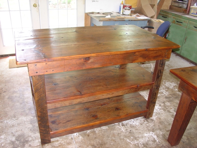 Primitivefolks rustic pine farm tables country harvest for How to build a rustic kitchen island