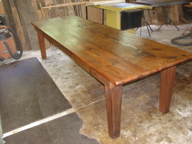 custom order Farmhouse table in Eastern white pine with Hand